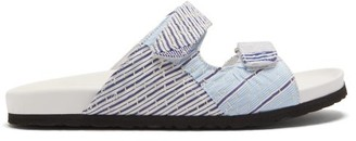 By Walid Yves Striped Textile Sandals - Womens - Blue Stripe