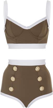Balmain Two-Piece High-Waist Swimsuit