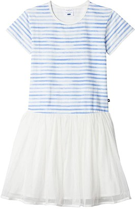 Toobydoo Mia Watercolor Tulle Party Dress (Toddler/Little Kids/Big Kids) (Blue) Girl's Clothing