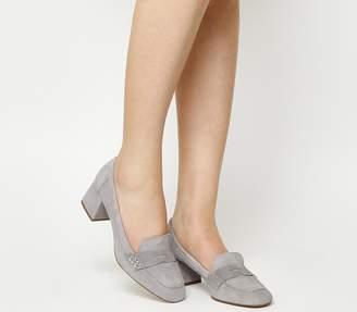 Office Mod Block Heel Loafers Grey Suede