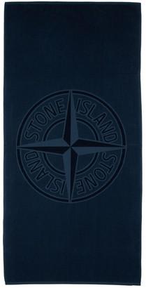 Stone Island Logo Cotton Terry Beach Towel