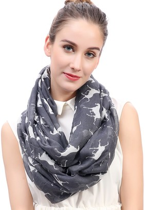 Lina & Lily Horse Print Lightweight Snood Scarf (Grey)