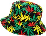 NYfashion101 Reversible Colorful Allover Leaf Print Design Bucket Hat