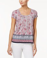 Charter Club Petite Cotton Mixed-Print Top, Only at Macy's