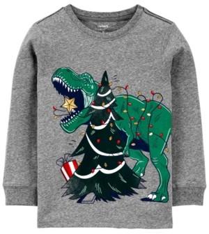 Carter's Big Boy Christmas Dinosaur Snow Yarn Jersey Tee