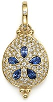 Temple St. Clair 18K Gold Sea Biscuit Pendant with Sapphire and Pavé Diamonds