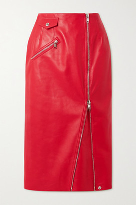 Alexander McQueen Zip-embellished Leather Midi Skirt - Red