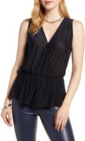 Halogen Flocked Sleeveless Peplum Top