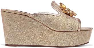 Dolce & Gabbana Bianca Crystal-embellished Brocade Platform Mules