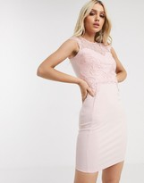 Lipsy dress with lace insert in pearl pink