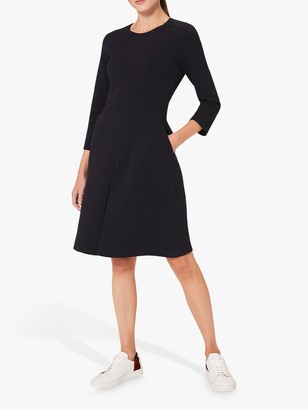 Hobbs Cadence Front Pleat Fit and Flare Dress, Navy