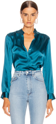 L'Agence Bianca Band Collar Blouse in Cortez Blue   FWRD