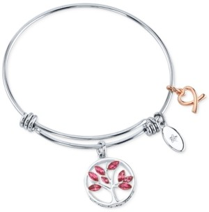 Unwritten Family Tree Charm Bangle Bracelet in Two-Tone Stainless Steel