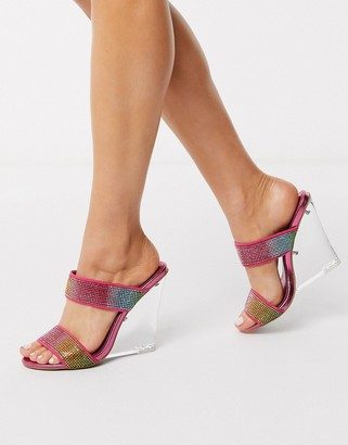 ASOS DESIGN Nectarine embellished clear wedge in rainbow
