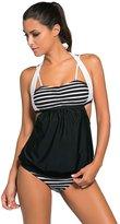 SMUDGE Life Women's Cutout Halter Stripes Colorblock Tankini Swimsuit