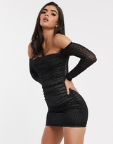 Bardot Parallel Lines bodycon dress in ruched leopard print mesh