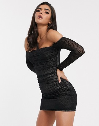 Bardot Parallel Lines bodycon dress in ruched leopard print mesh-Black