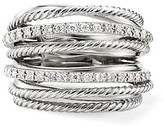 Thumbnail for your product : David Yurman Crossover Diamond & Sterling Silver Wide Ring