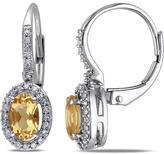 Ice Sofia B 1/5 CT Diamond and 3/4 CT Yellow Beryl 10K White Gold Lever Back Earrings