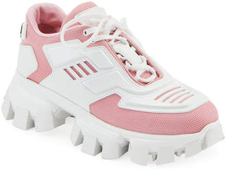 Prada Exaggerated Tech Caged Lace-Up Chunky Sneakers