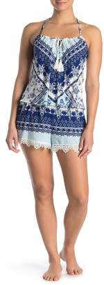 Jonquil In Bloom by Printed Crochet Knit Trim Camisole & Shorts 2-Piece Pajama Set