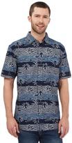Mantaray Big And Tall Navy Horizontal Wave Print Shirt