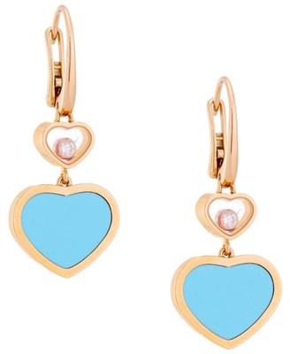 Chopard Happy Hearts 18K Rose Gold, Diamond & Turquoise Drop Earrings