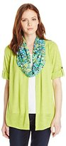 Notations Women's Petite 3/4 Sleeve Cozy Cardigan with Knit Inset and Lace Scarf