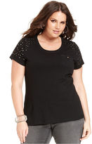 Style&Co. Sport Plus Size Top, Short-Sleeve Studded Tee