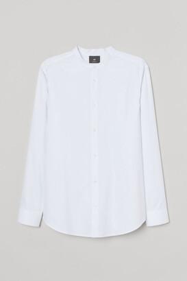 H&M Band-collar Shirt Slim fit - White