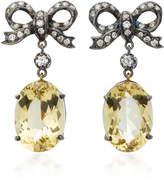 Montse Esteve 18K Gold Citrine and Diamond Drop Earrings