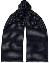 Tom Ford Patterned Wool And Silk-blend Scarf - Navy