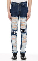 Hood by Air MEN'S SHREDDED JEANS-BLUE SIZE 32