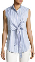 Helmut Lang Sleeveless Striped Tie-Front Poplin Shirt, Blue