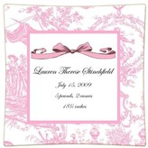 The Well Appointed House Pink Toile Personalized Birth Announcement Decoupage Plate-Available in a Variety of Sizes