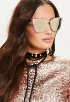 Missguided Rose Gold Flat Metal Cat Eye Sunglasses, Pink