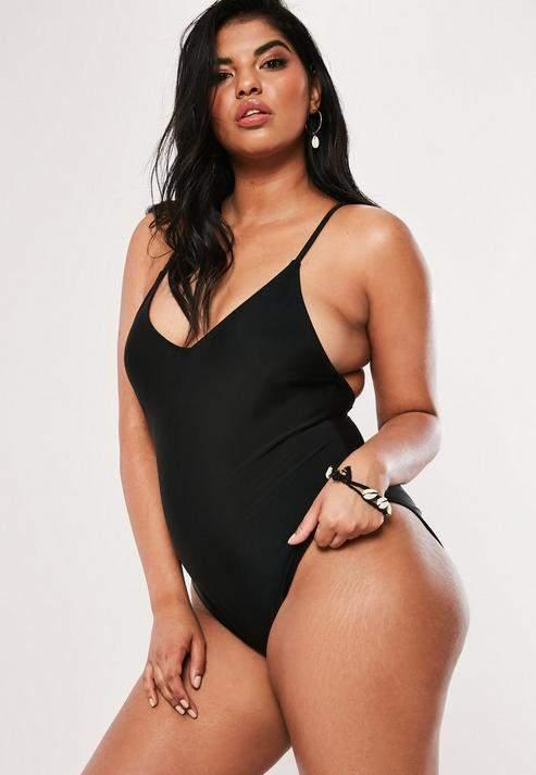 fbde1651aae2 Black One Piece Scoop Back Swimsuit - ShopStyle