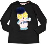 Fendi Pirochan Cotton Jersey T-Shirt W/Fox Fur