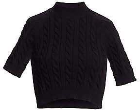 Alexander Wang Women's Cable-Knit Short-Sleeve Crop Sweater