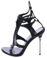 Brian Atwood Snakeskin Peep-Toe Sandals