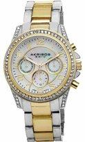 "Akribos XXIV Women's AK683TTG ""Ultimate"" Two-Tone Bracelet Watch With Crystal Accents"