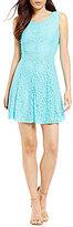Jodi Kristopher Crochet Back Lace Fit-And-Flare Dress