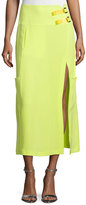 CNC Costume National Mid-Rise Midi Skirt W/Slit, Neon