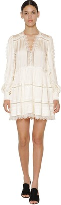 Self-Portrait Lace Trimmed Satin Mini Dress