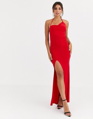 ASOS DESIGN one shoulder asymmetric slinky maxi dress