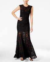 Betsy & Adam Open-Back Lace Mermaid Gown