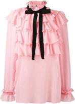 Gucci georgette Flounce shirt - women - Cotton/Silk/Viscose - 42