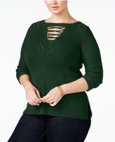 Love Scarlett Plus Size Laced-Up Sweater