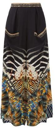 Camilla Lost Paradise Underwater-print Silk-crepe Trousers - Womens - Black Multi