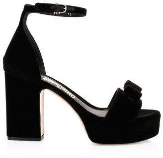 Salvatore Ferragamo Eclipse Suede Platform Sandals